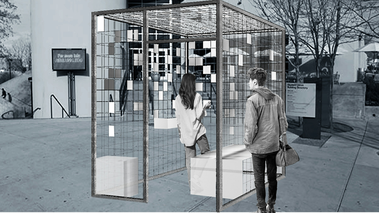 A rendering of the project, Caged, designed and fabricated by UNM students.